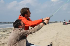 Power kiting in Scheveningen on the beach